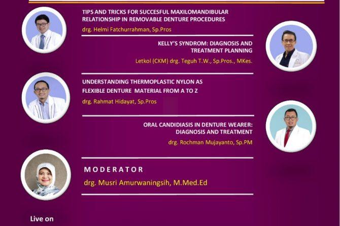 Webinar Manajemen Perawatan Prostodonsia dengan Gigi Tiruan Lepasan