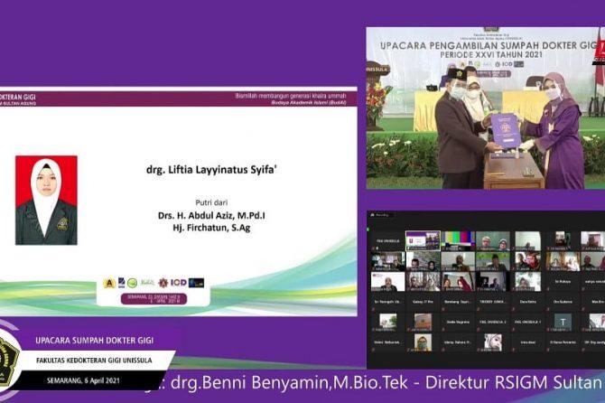 Sumpah Dokter Gigi ke XXVI FKG Unissula Tahun 2021